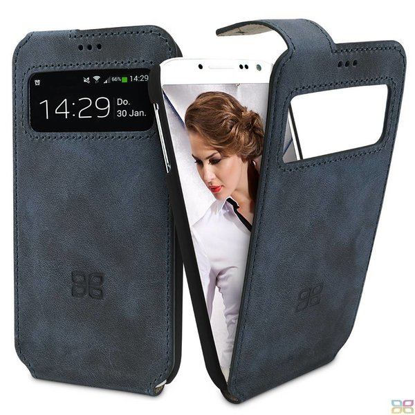 Samsung Galaxy S4 Lederen Hoesje Flip Windowcase (Blauwgrijs)