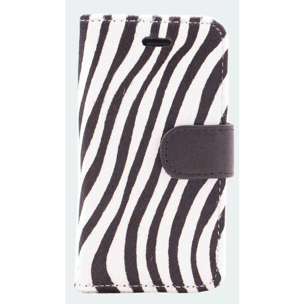 itZbcause Lederen Bookcase Hoesje voor iPhone 5(S) & SE - Zebra