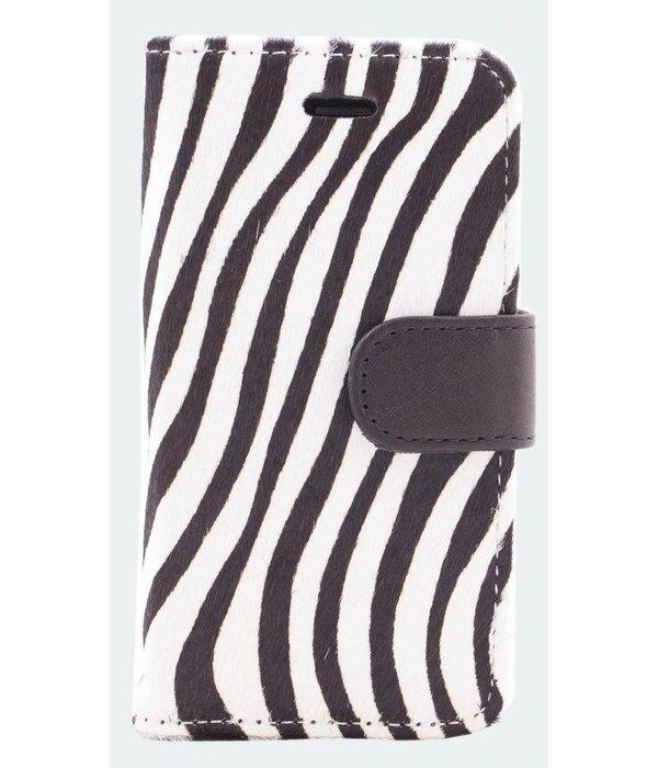itZbcause itZbcause Lederen Bookcase Hoesje voor iPhone 5(S) & SE - Zebra