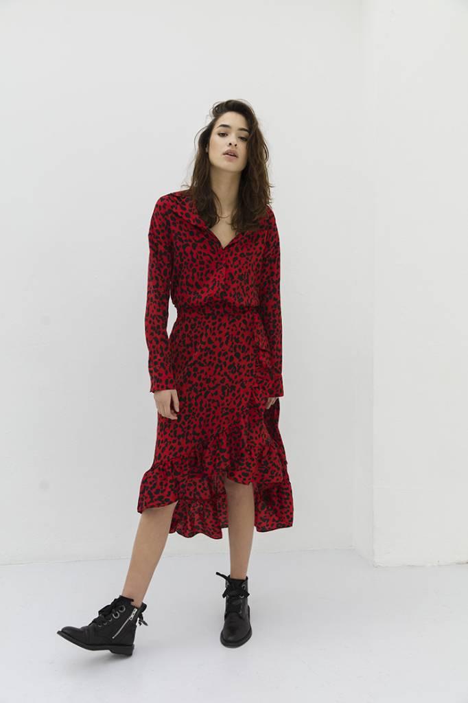 Alix The Label Flowy leopard skirt