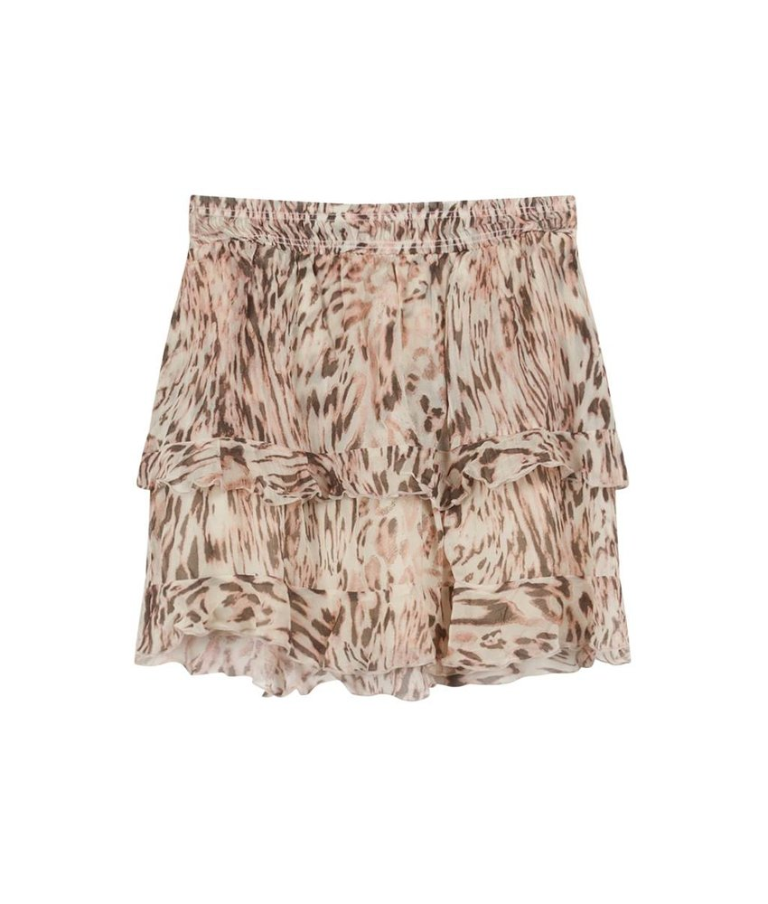 Alix The Label Flowy ruffle animal skirt