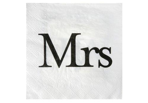 Servetten wit Mrs (20 stuks)