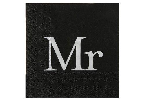 Servetten zwart Mr (20 stuks)
