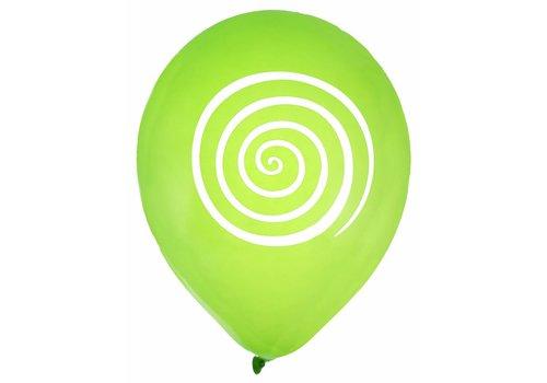 Ballon spiraal lime (8 stuks)