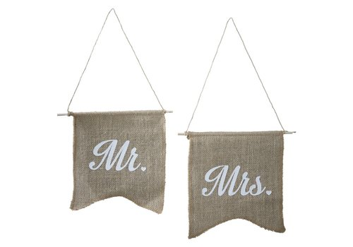 Jute vlaggetjes Mr & Mrs