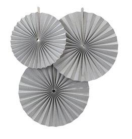 Perfect Decorations Papieren waaier zilver (3 stuks)