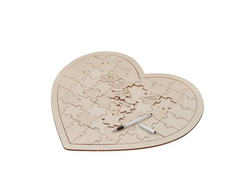 Alternatief gastenboek, houten puzzel