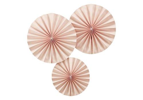 Éventail en papier rose (3 pièces)
