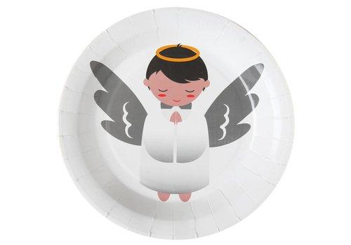 Witte bordjes engel (10 stuks)