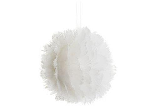 Vederen kerstbal wit 11 cm