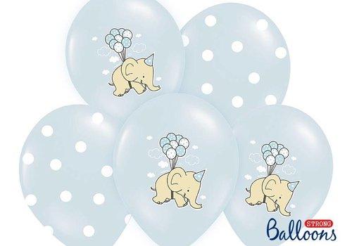 Blauwe ballonnen olifant (6 stuks)