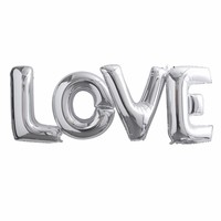thumb-Folieballon zilver LOVE-1