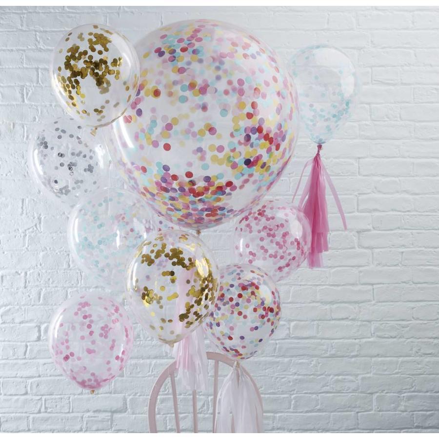 Confetti ballon goud (5 stuks)-2