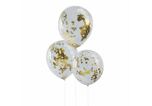 Confetti ballon goud (5 stuks)