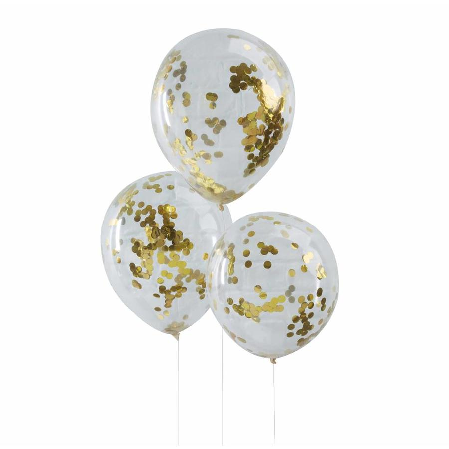 Confetti ballon goud (5 stuks)-1