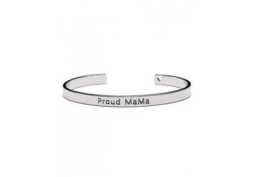 Armband Proud Mama zilver
