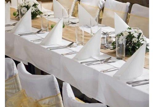 Wit linnen tafelkleed groot (verhuur)