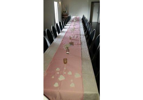 Roze  linnen tafelloper