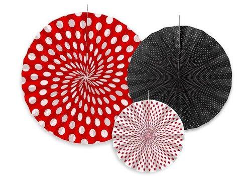 Papieren waaiers rood met zwart (3 stuks)