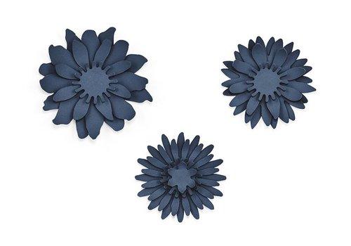Papieren bloem blauw (3 stuks)
