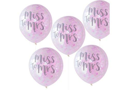 Ballon confetti miss to mrs (5 pieces)