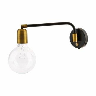 House Doctor Zwarte wandlamp Molecular Zwart metaal goud