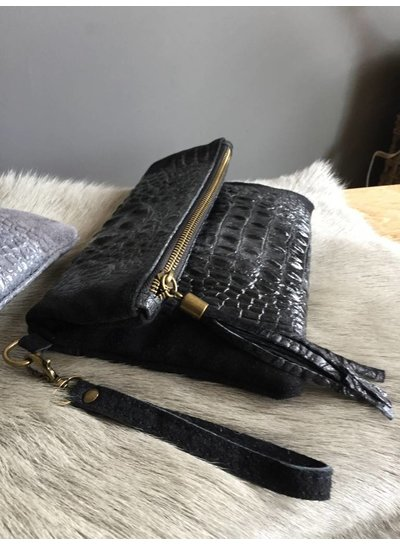 Clutch Croco Leather Black