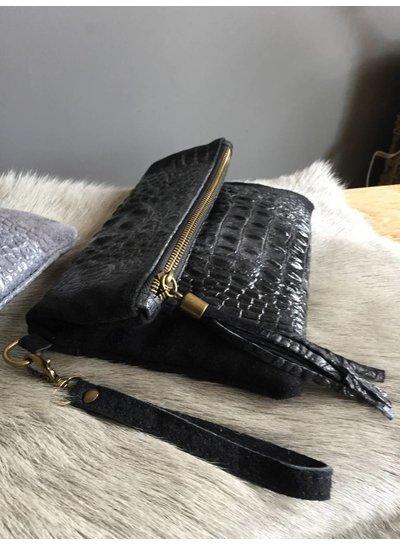 Clutch Croco Leather Black