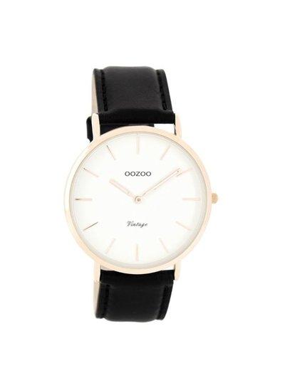 OZOO Horloge Vintage Zwart/wit rosé