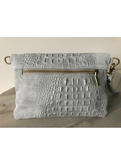 Clutch Croco Leather Soft Grey