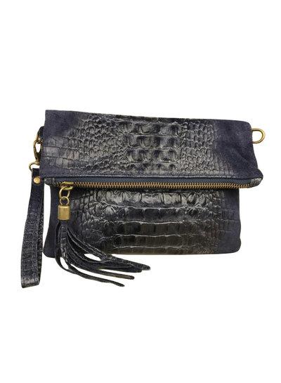 Clutch Croco Leather Dark Blue