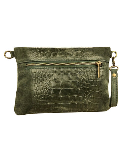 Clutch Croco Leather Olive