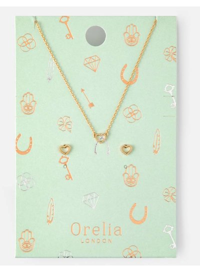 Open Heart Earring and Necklace Set - Gold -
