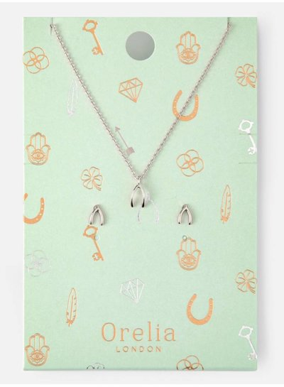 Wishbone Earring and Necklace Set - Silver -