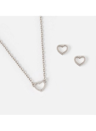 Open Heart Earring and Necklace Set - Silver