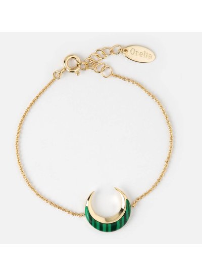 Gold Plated Malachite Crescent Bracelet