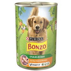 Bonzo 12x bonzo blik stukjes in saus kip / pasta / wortelen