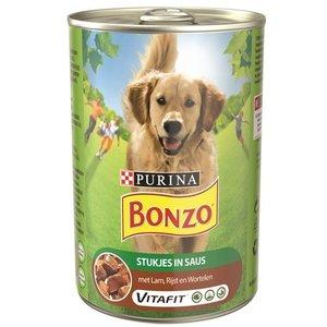 Bonzo 12x bonzo blik stukjes in saus lam / rijst / wortelen