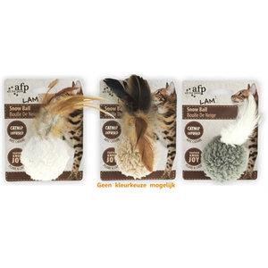 Afp Afp snow ball lamswol met veren en catnip assorti