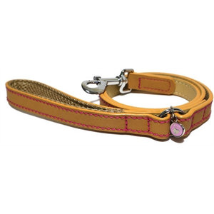 Rosewood Luxury leather looplijn puppy / kleine hond zand met studs