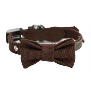 Rosewood Wag 'n' walk halsband hond met strik truffel / taupe
