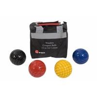 Ubergames 4 houten croquet ballen, netjes in tas