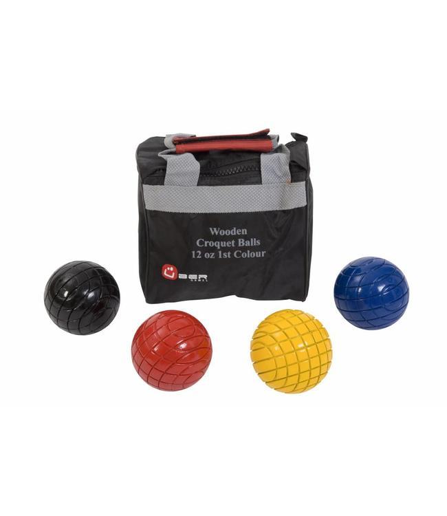 Ubergames 4 houten croquet ballen, 355 gr, netjes in tas