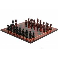 Meesterspel India Premium Schaakset Ebony Palissander hout, met diep Rood Eshout, incl. leren opbergkoffer