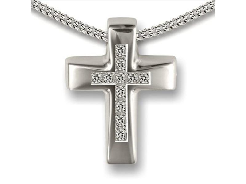 Ashanger kruis - 925 Sterling zilver met zirkonia