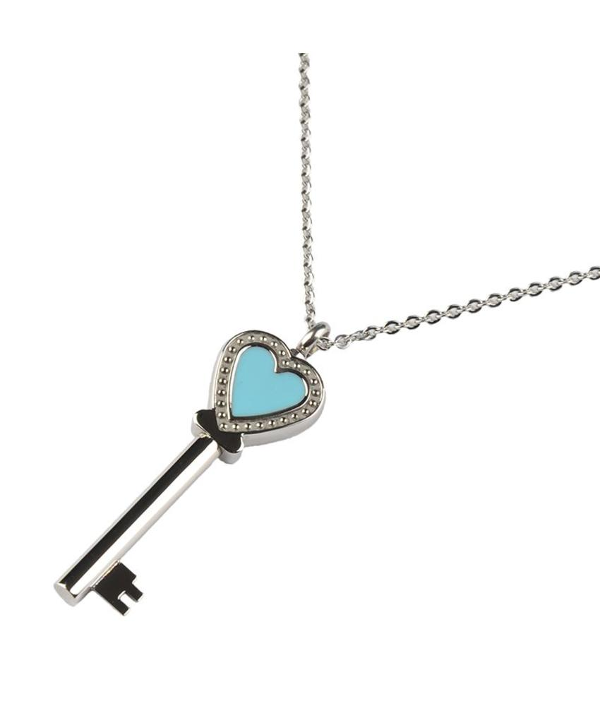 Asketting sleutel hart incl. ketting en geschenkbox - RVS