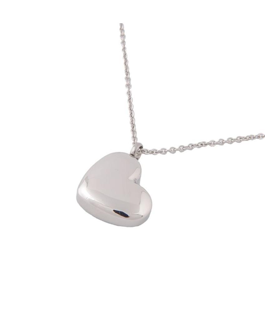Asketting hart incl. ketting en geschenkbox - RVS