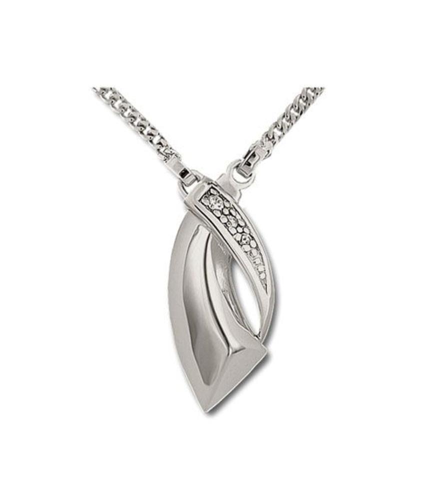 Asketting zigzag incl. ketting 45 cm - 925 Sterling zilver met zirkonia