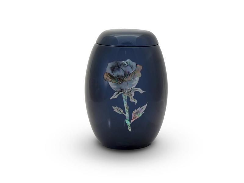 Blauwe rozen urn - glasfiber