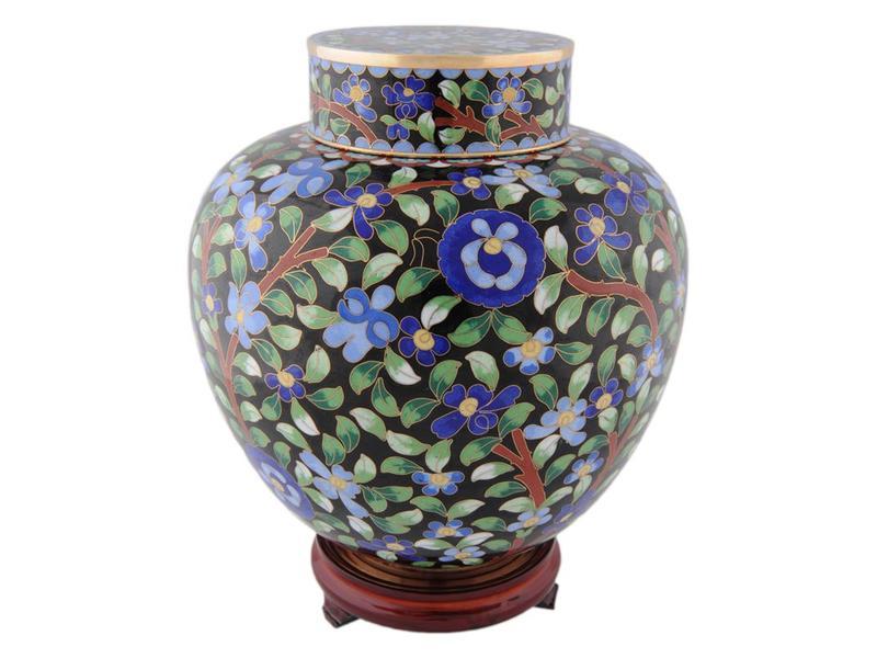 Bloem urn - cloisonné met rozenhouten voetstuk
